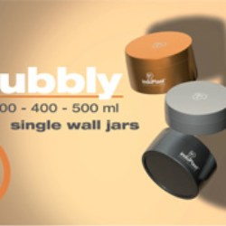 Induplasts new BUBBLY line of PP wide mouth, single wall jars